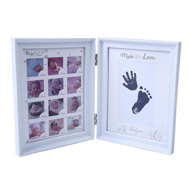 Mi primer año de regalo para bebés, regalo de cumpleaños para niños, decoración familiar, decoración para el hogar, marco de fotos de 12 meses con almohadilla de tinta artesanal
