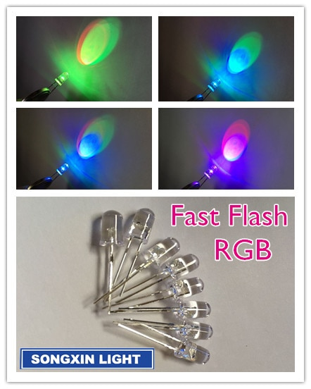 100 pcs/LOT 5mm Fast RGB Flash Red Green Blue Rainbow Multi Color light emitting diode Round LED XIASONGXIN LIGHT F5 Full color