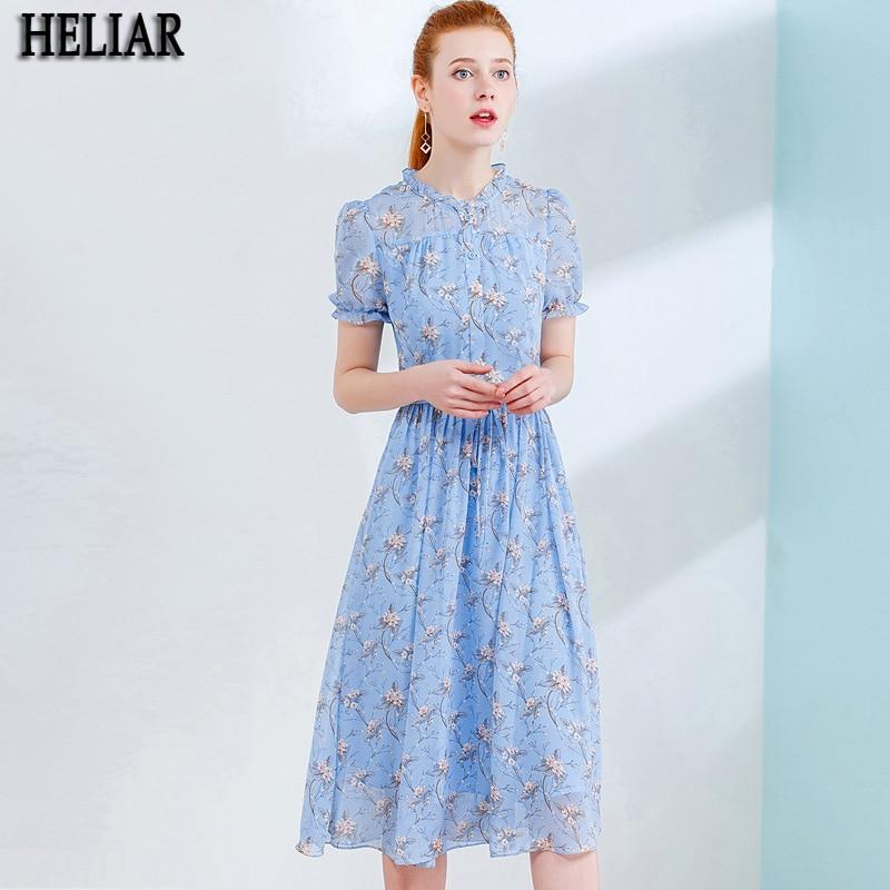 HELIAR Sky Blue Chiffon Printed Dresses For Ladies Short Sleeve Summer Dress Elegant Slim Vacation High Waist A Line Dress
