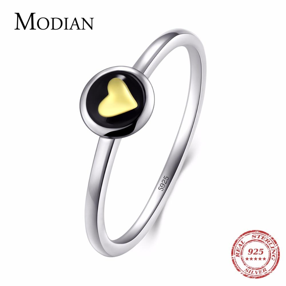 Женское кольцо с эмалью Modian, оригинальное кольцо из 100% стерлингового серебра 925 пробы с золотым сердцем в Instagram, 2019