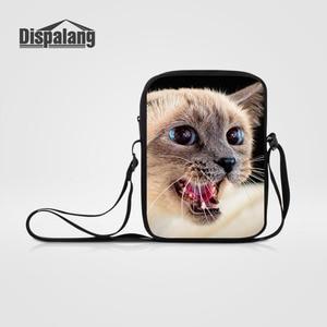 Dispalang Small Men Women Messenger Bag Mini Cute Cat Animal Print Children Crossboby Bags Kids Shoulder Bag Boys Satchel Bags