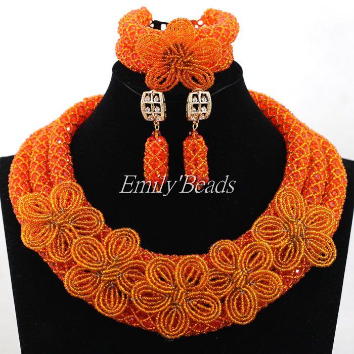 2016 Handmade Flower Brooches For Bridal African Wedding Nigerian Beads Jewelry Set Orange Crystal Beads Necklace Set ALJ411