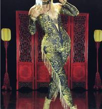 Sexy vert gland combinaison femmes sexy nu Leggings franges body Costume danse scène vêtements femme chanteuse grande tenue Stretch