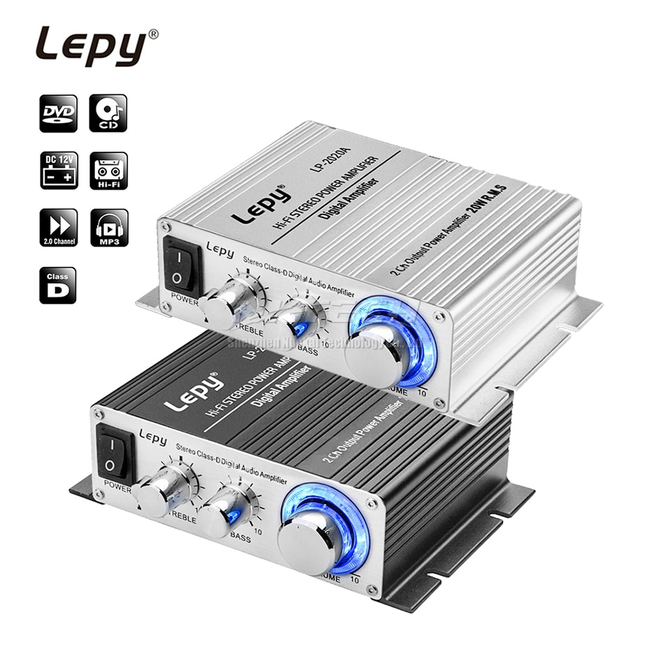 AMPLIFICADOR DE POTENCIA DE COCHE Lepy LP-2020A, reproductor Digital Hi-Fi estéreo Clase D 2CH RMS 20W bajos de audio profesional DIY música hogar AMP MP3