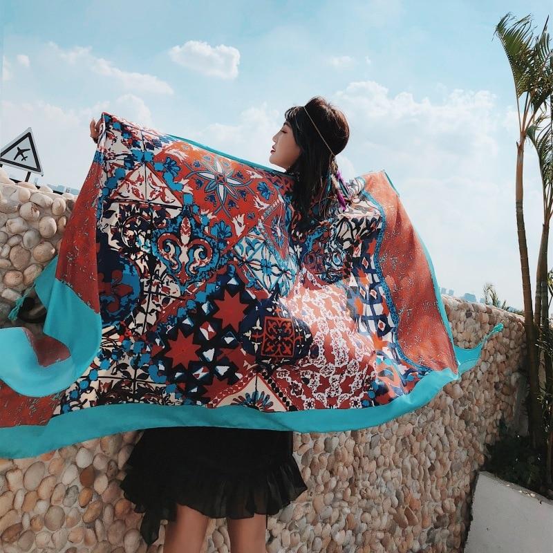 2019 Fashion Summer Ethnic Print Cotton Scarf For Women Long Tassel Soft Wraps and Shawls Beach Hijab OverSize Female Foulard