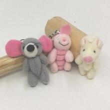 4cm x 20 pièces minuscule mignon en peluche rose cochons/gris souris/jonité cochons en peluche Cerdo animaux artisanat poupée Applique bijoux accessoire