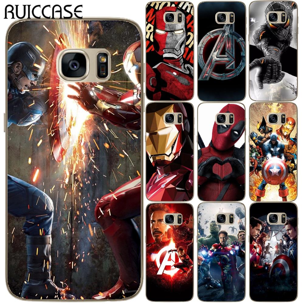 Araña de hierro de hombre Deadpool suave TPU caso para Coque Samsung Galaxy S5 Mini S6 S7 borde S8 S9 S10 Plus E S10E vengadores cubierta
