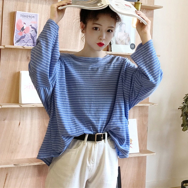 Camiseta de gran tamaño estilo coreano Harajuku manga larga rayas streetwear mujer Camisetas otoño casual tops camisetas de gran tamaño