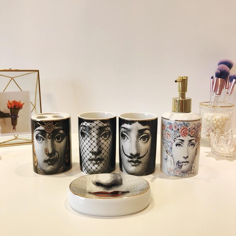 Juegos de baño de estilo nórdico, 5 uds., accesorios de decoración de cerámica, vasos de cepillo de dientes, dispensador de jabón, taza de almacenamiento para inodoro