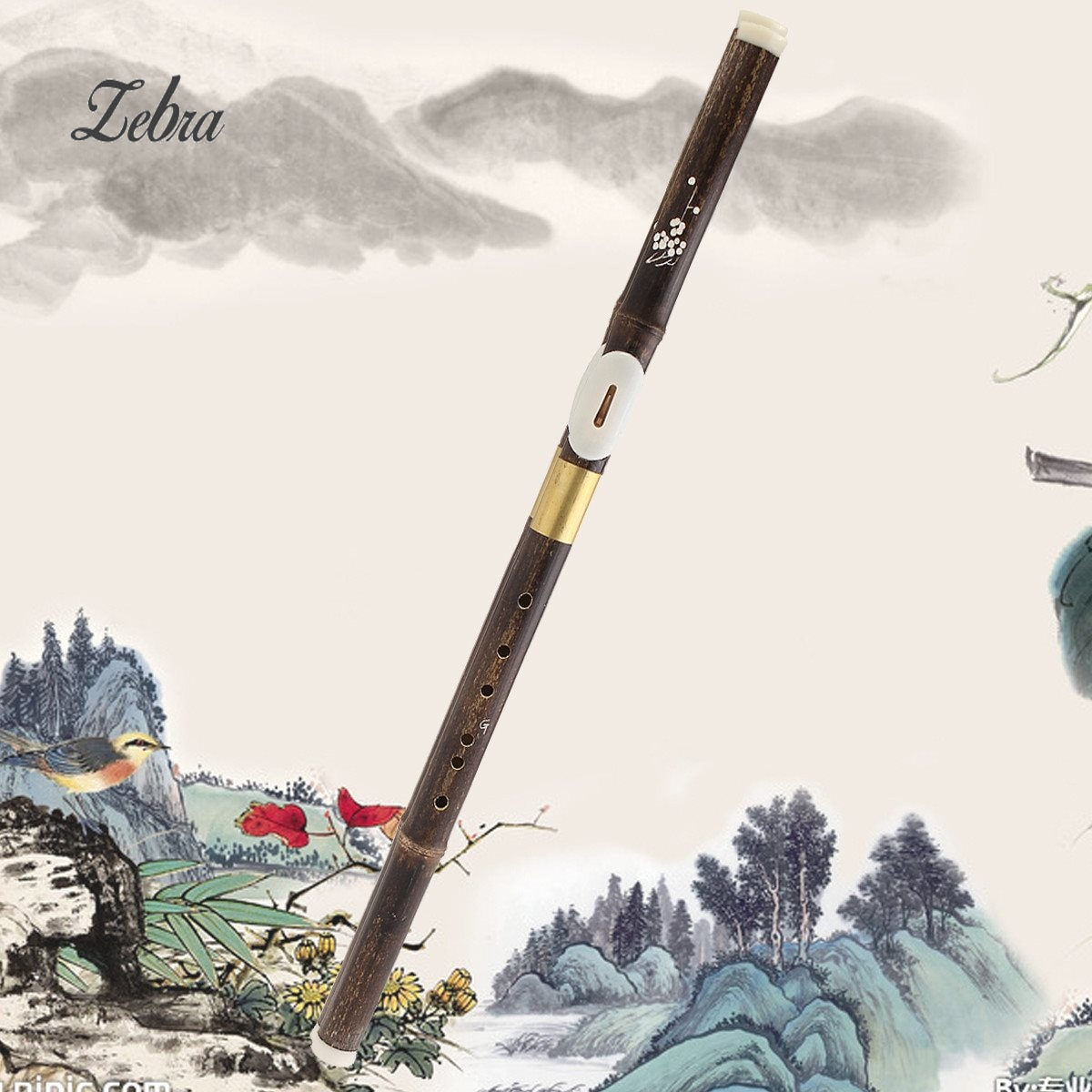 Zebra 560x23mm 6 agujeros GKey chino tradicional Vertical Shichiku flauta de bambú para el viento de madera instrumentos musicales amante principiante