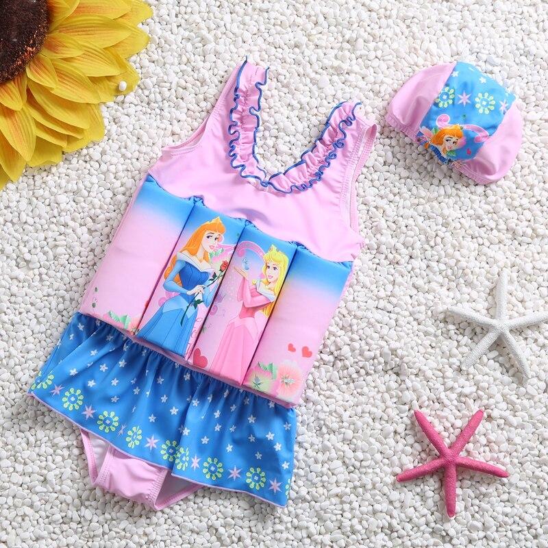 Dos desenhos animados do bebê menina maiô crianças natação terno flutuador maiô bonito vestido de natação uma peça flutuante maiô