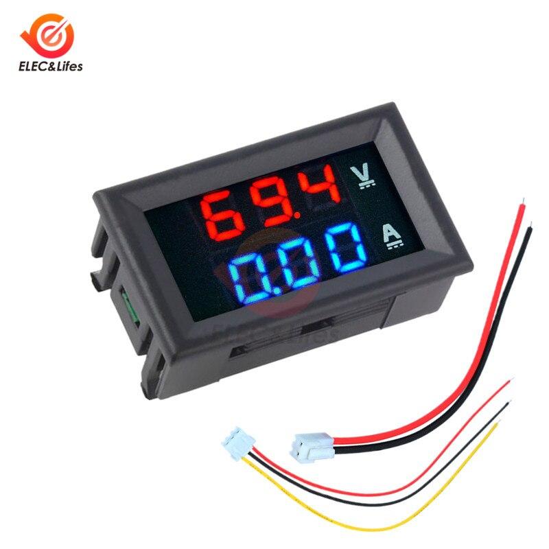 Voltímetro Digital electrónico DC 0-100V 10A 50A 100A amperímetro 0,56 pantalla LED voltaje regulador Volt amperio probador Auto coche