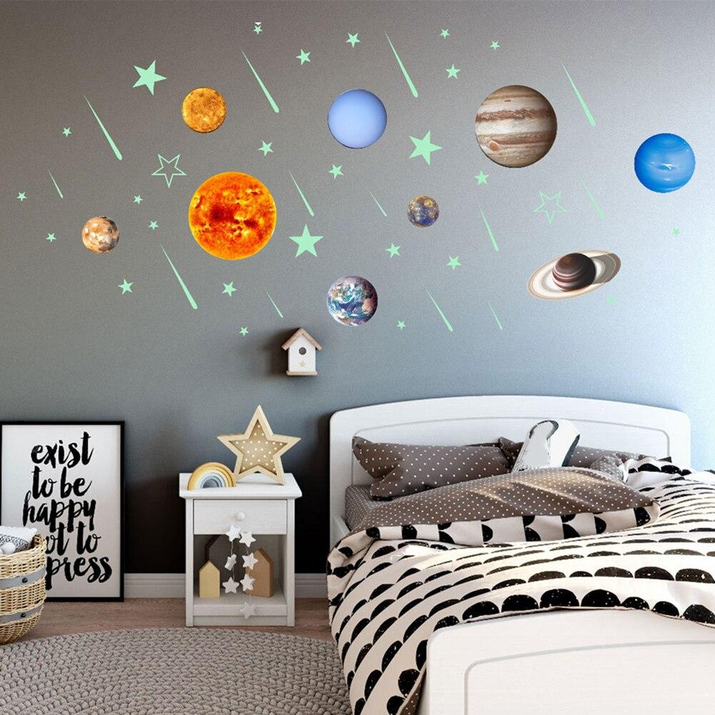 Estrelas luminosas de Meteoros Nove Planetas Brilham no Escuro Adesivos De Parede Crianças Room Decor Hot Style