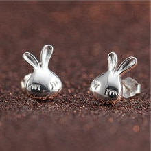 925 Sterling Silver Jewelry Fashion Hot New Creative Gift Rabbit Small Exquisite Anti-allergic Earri