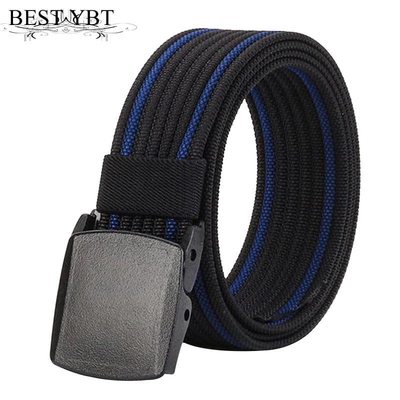 Best YBT Unisex Belt Nylon Plastic Smooth buckle Women Belt Cowboy Outdoor Sports Simple Fashion Casual High Qualit Men Belt