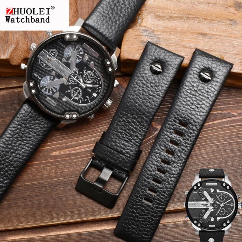 genuine leather watchband for diesel watch belt  DZ7257 1657 4323 7314 7313 7371 straps 22 24 26 27 28 30mm black brown white