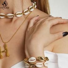 Oly2u Lucky Boho Sea Shells Bracelets & Bangles Rope Chain Bracelet Woman Girls Simple Beach Jewelry Best Friend Gifts bijoux