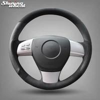bannis black leather black suede car steering wheel cover for mazda 6 2010 gh mazda 8