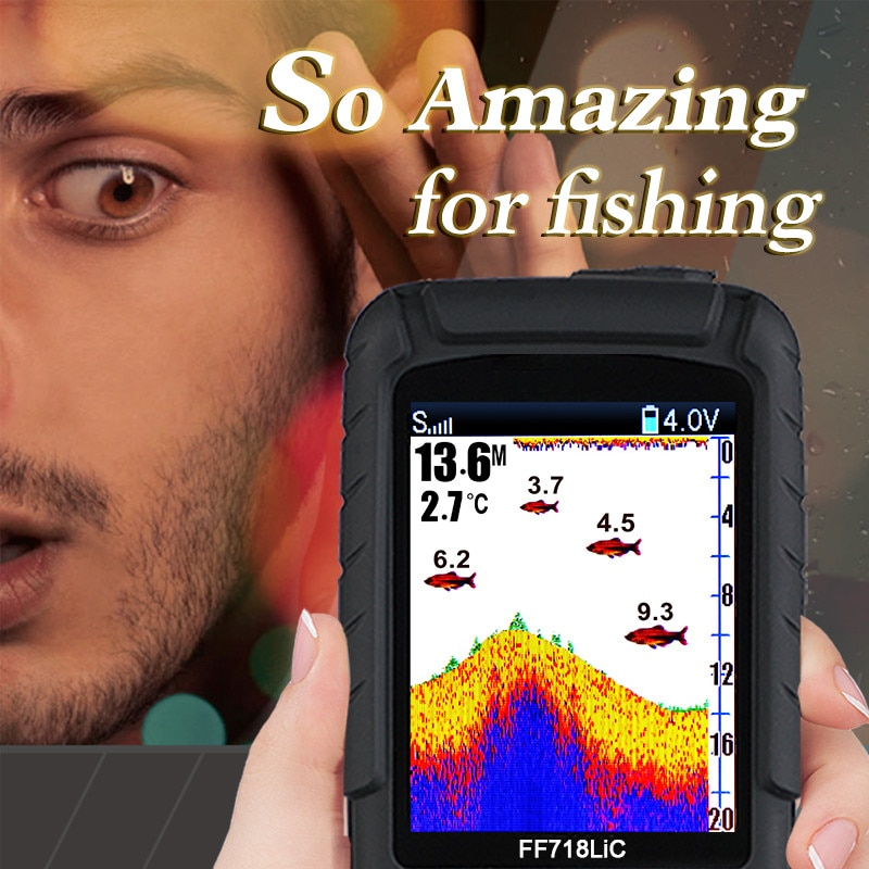 LUCKY Wired and wireless fish finder for ice fishing FF718LiC Russian/English language depth sonar sensor fishfinder monitor enlarge