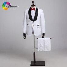 Blanc Floral motif châle revers hommes costumes de Mariage Slim Fit formel Tuxedos Costume Homme Mariage 3 pièces Terno Masculino