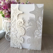 100pcs Laser Cut Pretty Design Glossy paper Thanks Giving Birthday Greeting Invitation Card Beach Theme wedding invitation cards