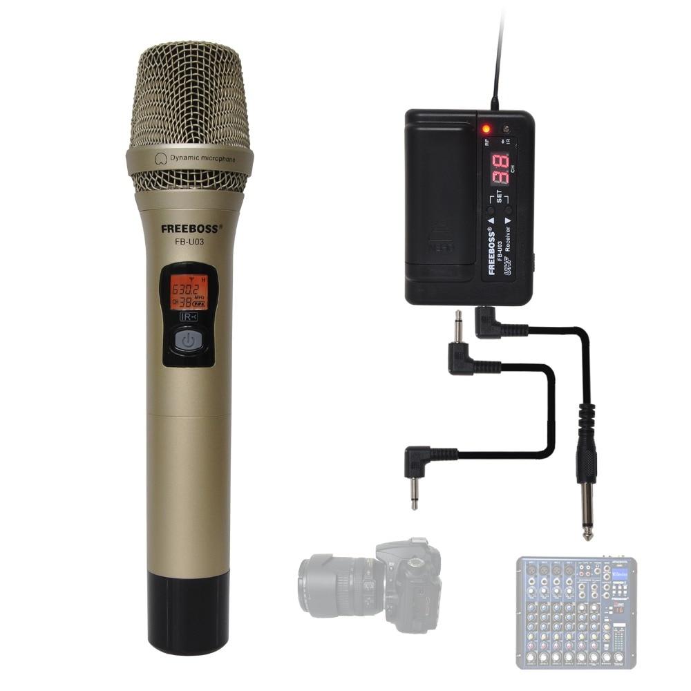 FREEBOSS FB-U03-2M 1 طريقة 100 قناة المعادن يده الارسال ميكروفون لاسلكي كاميرا ميكروفون حزب كاريوكي ميكروفون
