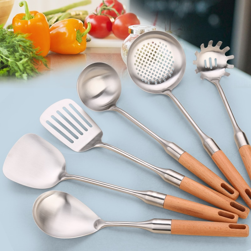 GLANYOMI 1 pc utensilio de cocina de acero inoxidable mango de madera Juego de Herramientas de cocina cuchara de cuchara para cocina de restaurante