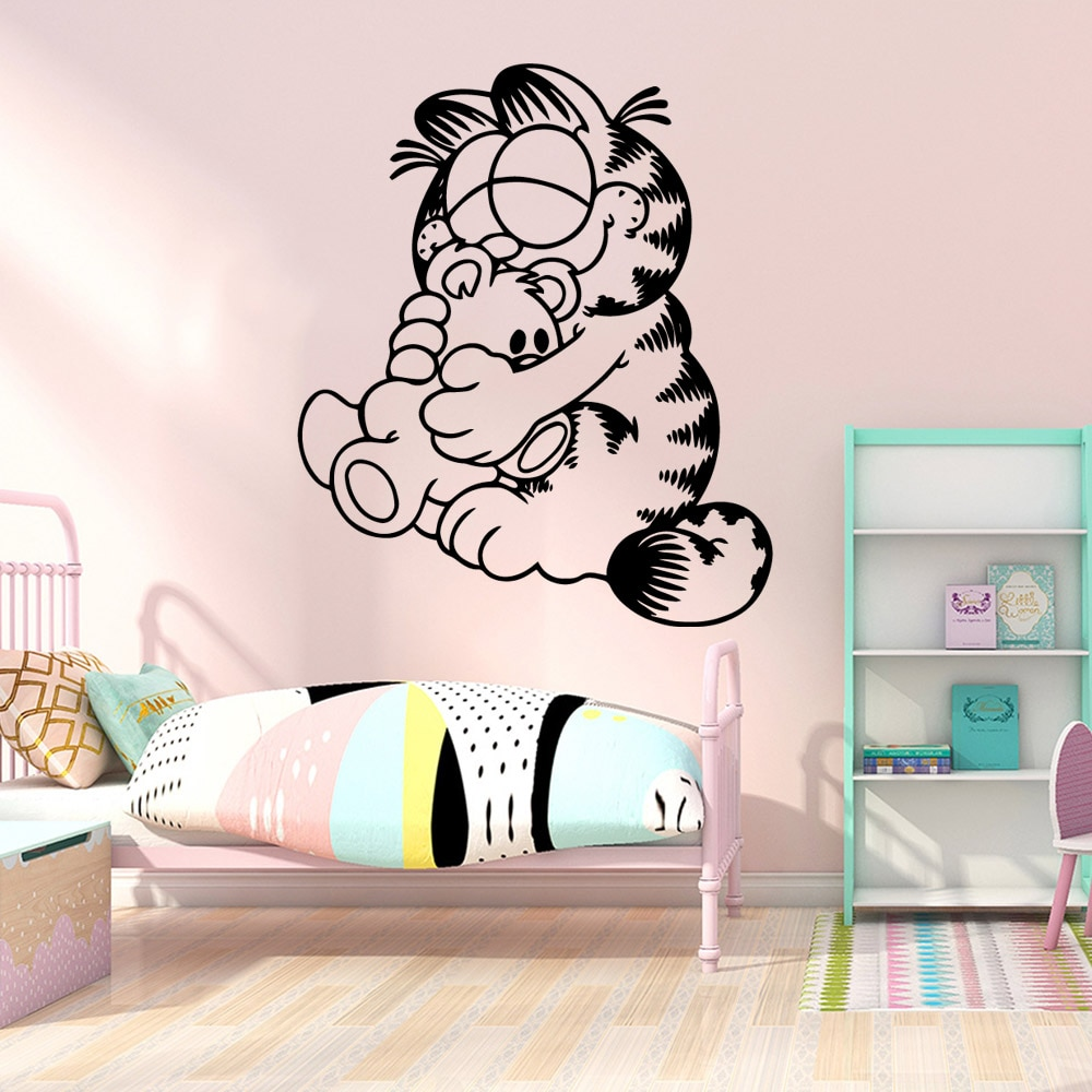 Divertido Garfield pared pegatina decoración del hogar sala de estar niños habitación calcomanía creativa pegatinas