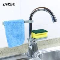 ctree 1set sink hanging storage rack storage holder sponge kitchen faucet clip dish shelf drain dry towel 2pc bathroom rack c770