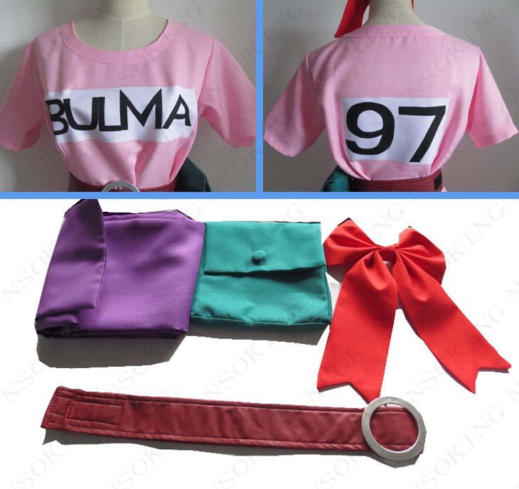 Anime Dragon Ball Z Bulma Cosplay Costume Pink Dress custom made