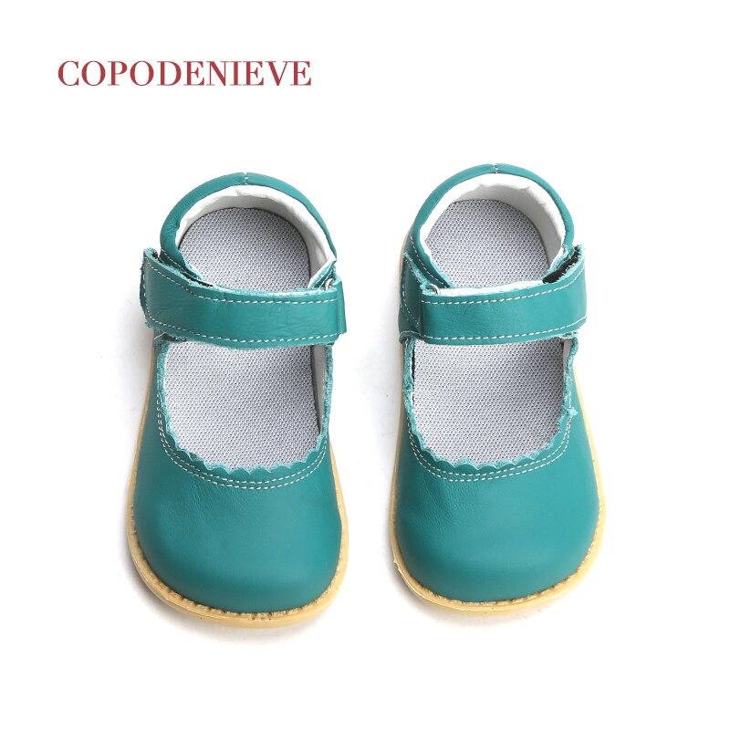 COPODENIEVE-حذاء مسطح عتيق للفتيات الصغيرات ، حذاء ماري جين من الجلد الطبيعي باللون الوردي والأبيض والأسود ، 2018