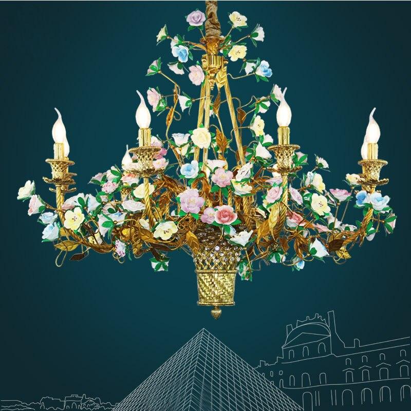 Lámpara de araña Pastoral de flores para dormitorio de niñas, habitación de princesa, iluminación para Villa, lámpara colgante Art Deco, lámpara colgante, iluminación
