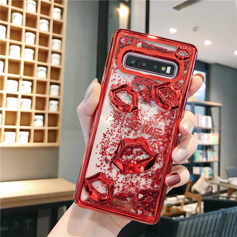 Funda suave a prueba de golpes para Samsung S7 Edge S8 S9 S10 Plus brillo líquido dinámico arenas movedizas 3D maquillaje Sexy labios KISS ME para iPhoneX