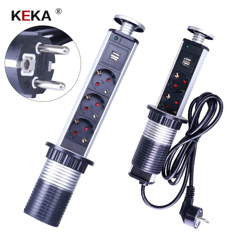KEKA EU Plug socket  3 power sockets Kitchen Table Electrical Socket Power 1 Led+2 charge USB Aluminum Shelf Worktop EU Plug