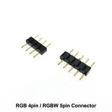 4pin RGB/5pin RGBW conector 4pin/5pin aguja para tira de LED 10 unids/lote