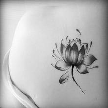 Autocollants de fleur de Lotus imperméable noir femmes tatouage de fleur de Lotus autocollants de tatouage temporaires Art corporel temporaire tatouage imperméable