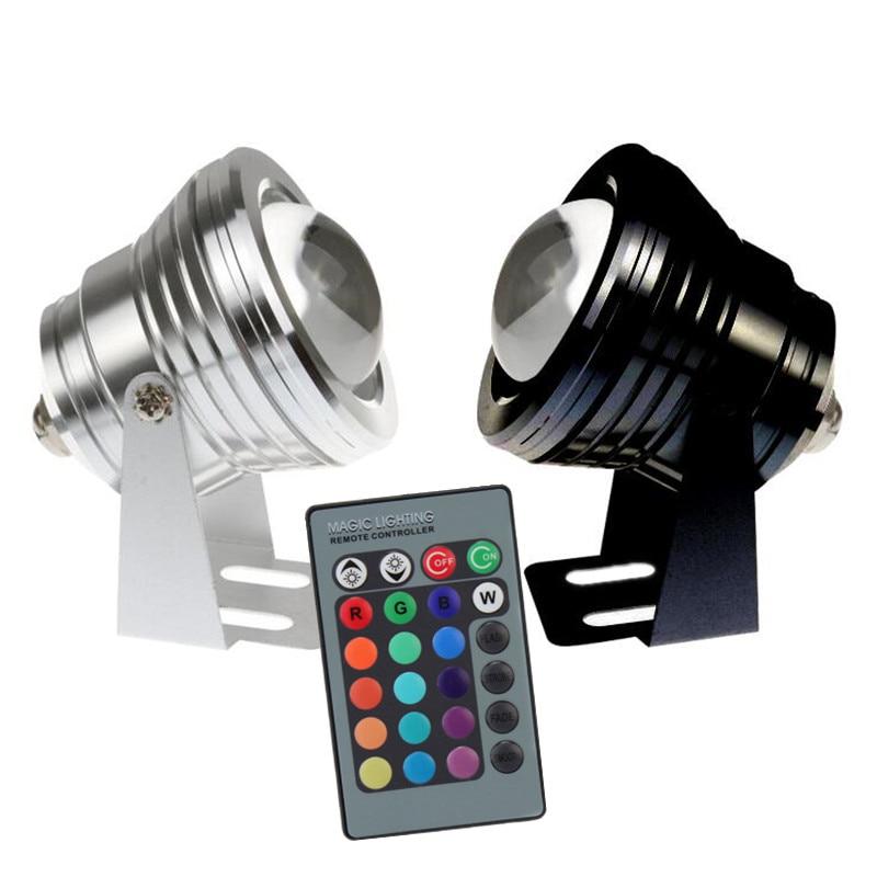 10W 12V Led RGB 수 중 스포트 라이트 방수 IP65 분수 풀 램프 IR 원격 piscina 야외 빛으로 16 다채로운 변경