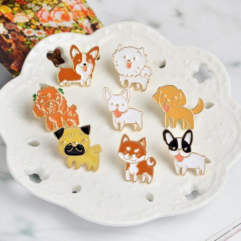 Broche de esmalte de perrito de 8 estilos Shiba Pomeranin Corgi Bulldog Pug, broches para ropa, bolsa, insignia, joyería de animal de dibujos animados