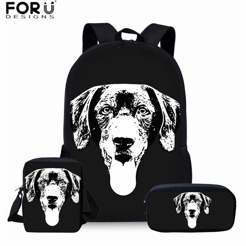 FORUDESIGNS, conjuntos de mochilas escolares con estampado de perros Labrador negro para adolescentes, niños y niñas, bolsa de hombros para libros, mochilas para niños, mascotas, perros