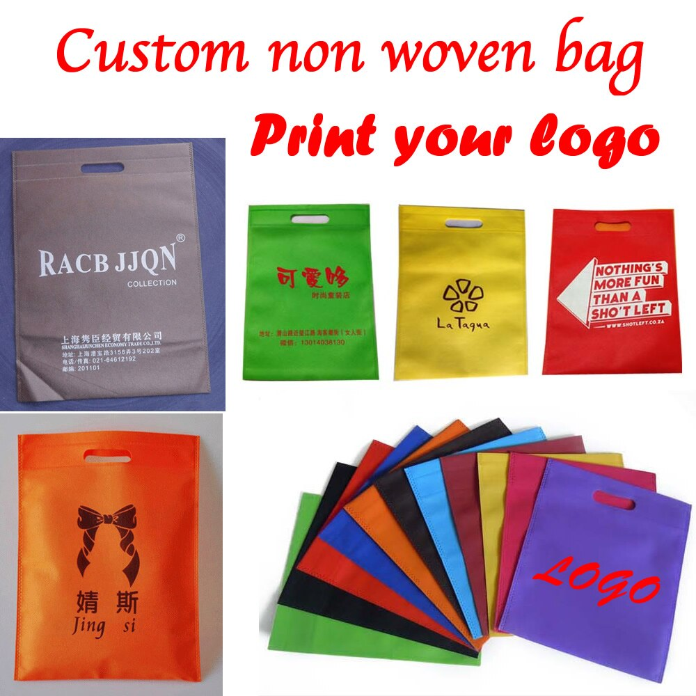 Logotipo impreso personalizado bolso no tejido/bolsa de regalo/Embalaje de bolsa no tejida 100 unids/lote