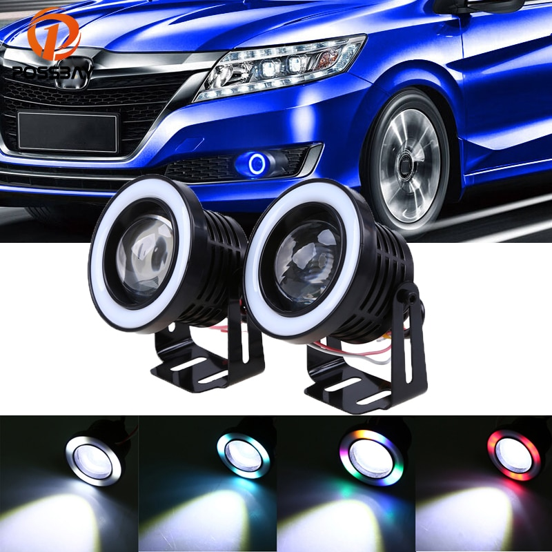 POSSBAY 64mm 76mm 89mm COB LED RGB Angel Eye Fog Light Auto Running Lights Waterproof/Anti-Fog Headlight Halo Rings