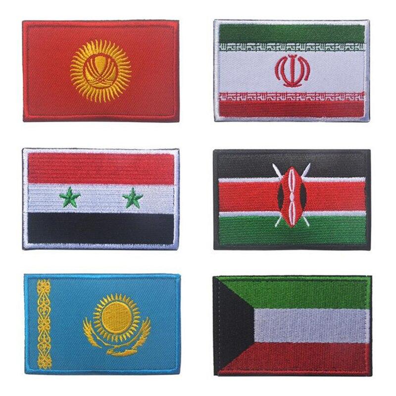 Patchs autocollants 3D du drapeau de liran   Du Kazakhstan, du Kenya, du koweït, de la syrie, des badges de personnalité en broderie, vêtements