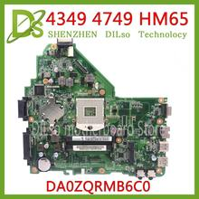 Carte mère KEFU DA0ZQRMB6C0 pour carte mère Acer Aspire 4349 4749 HM65 MBRR406001 100% carte mère dorigine testée