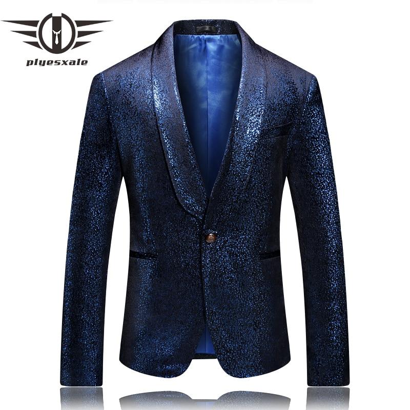 Elegante dos Homens Nova Chegada Azul Vestes Veludo Blazer Homme Luxo Xale Collar Social Masculino Blazers Casual Q643 2022