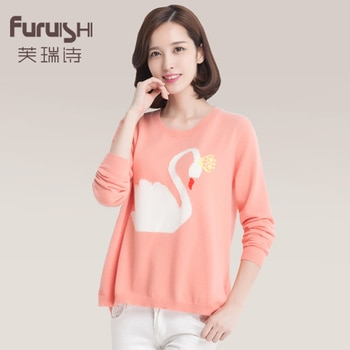 2014 women's o-neck long-sleeve mink sweater pullover for sweet little swan sweater