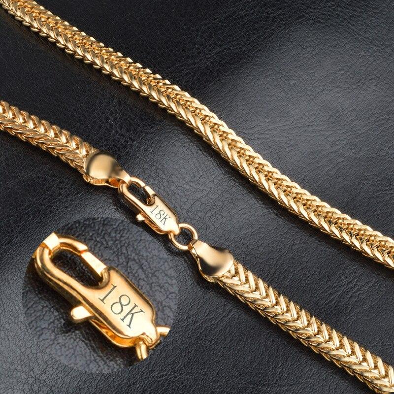 Cadena llena de oro y hueso de serpiente de 20 pulgadas y 6MM de Hip hop, cadena de eslabones cubanos de doble curva de acero inoxidable, joyería para hombres