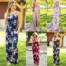 Wontive 2019 femmes Super confortable combinaison florale mode tendance fronde imprimer pièce ample pantalon