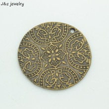 Wholesale 3 Pcs metal antique bronze flower charms pendants for diy jewelry fingings 39*39 mm 35105A