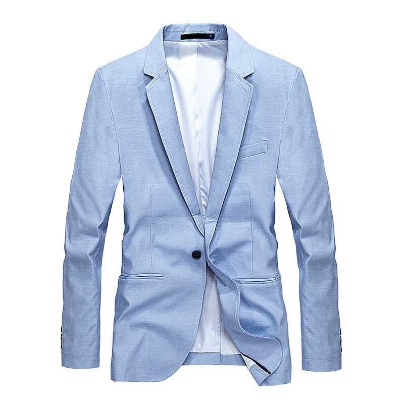 Блейзер Мужской на одной пуговице, светильник официальный пиджак, одежда для офиса и свадьбы, цвет голубой, весна-лето