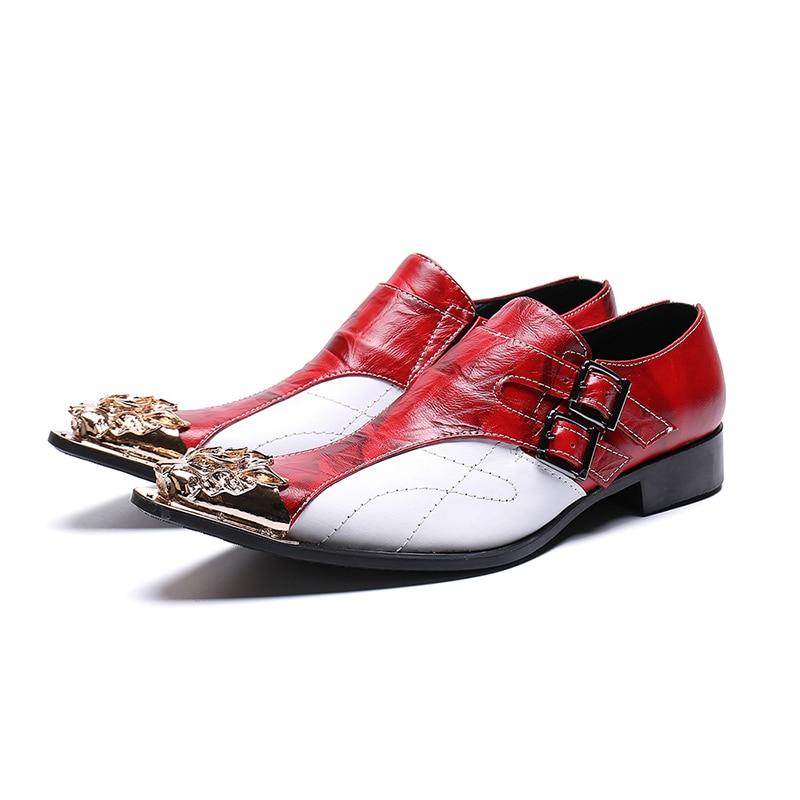 أكسفورد-حذاء حفلات بإبزيم مزدوج للرجال ، حذاء عصري ، مريح ، جلد أصلي ، بمقدمة مدببة ، أحمر ، أبيض